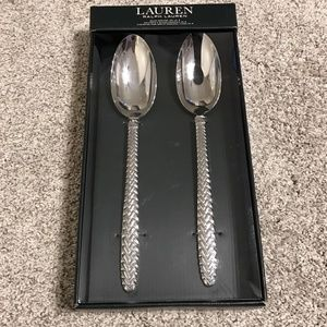 Ralph Lauren Salad Servers Spoon Equestrian Braid